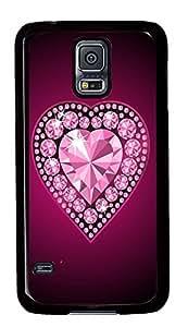 girly Samsung Galaxy S5 case Beautiful Pink Love Heart PC Black Custom Samsung Galaxy S5 Case Cover