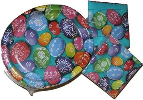 Easter Paper Plates - Bright Egg Design Dinner and Napkin Party Pack - Serves 50 - Includes 50 (10