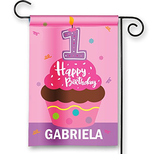 Look Whos 1 Happy 1st Birthday Cupcake Girls Party Flags Personalized Garden Flag Yard Sign Banner Decor Decoration PERSONALIZE w Child Name 12
