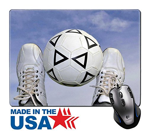 "MSD Natural Rubber Mouse Pad/Mat with Stitched Edges 9.8"" x 7.9"" IMAGE ID 19714973 soccer ball between the legs on the background of the sky - Edge Soccer Socks"