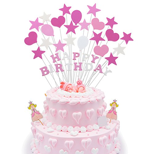 1st Happy Birthday Cake Topper, Pink Birthday Shower Party Decorations for Baby Girls