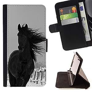 Momo Phone Case / Flip Funda de Cuero Case Cover - Horse Farm Black Stallion - MOTOROLA MOTO X PLAY XT1562