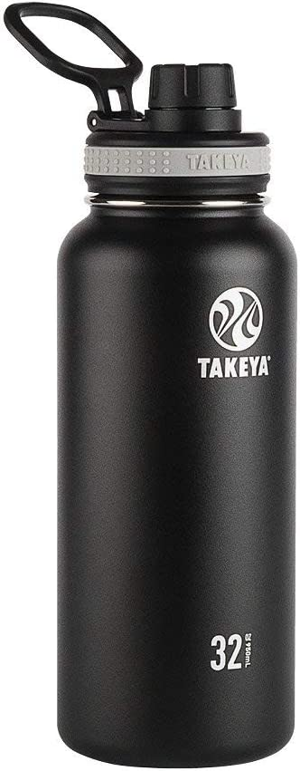 Takeya 50011 Originals Vacuum-Insulated Stainless-Steel Water Bottle, 32oz, Black, 32 oz, (Renewed)