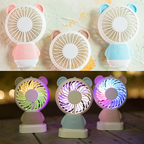 TechCode Handheld Electric Fans, Cute USB Charger Noiseless Fans 2 Speed Adjustable Rechargeable Handhold Portable Personal Fans Creative Cooling Mini Fan with Colorful Led Night Light (Brown) by TechCode (Image #3)