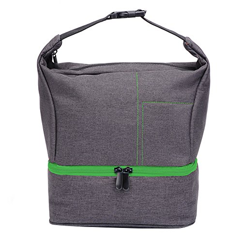Crossbody Camera Bag, Waterproof Shockproof Camera Shoulder Backpack, Large Capacity and Two Layer Layout, Portable for Canon Nikon Sony SLR / DSLR Camera, Lens and Accessories#81426 (Gray+Green)