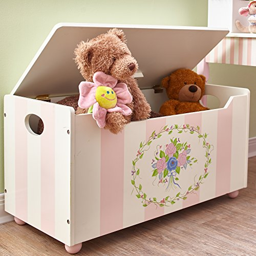 Fantasy Fields Bouquet Thematic Kids Wooden Toy Chest with Safety Hinges | Imagination Inspiring Hand Crafted & Hand Painted Details Non-Toxic, Lead Free Water-based Paint (Hand Bouquet Free)