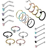 Best Hoop Nose Rings - LOYALLOOK 25PCS Stainless Steel Fake Septum Ring Nose Review