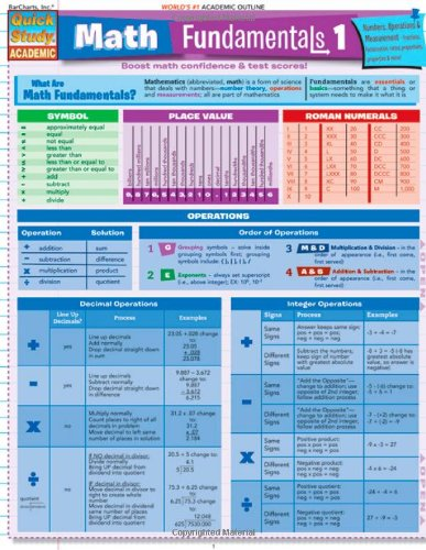 Math Fundamentals 1 Quick Reference Guide pamplet (Quick Study ...