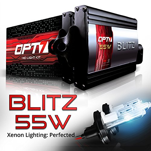 OPT7 Blitz 55W 9007 Hi-Lo HID Kit - 5X Brighter - 4X Longer Life - All Bulb Colors and Sizes - 2 Yr Warranty [8000K Ice Blue Xenon Light]
