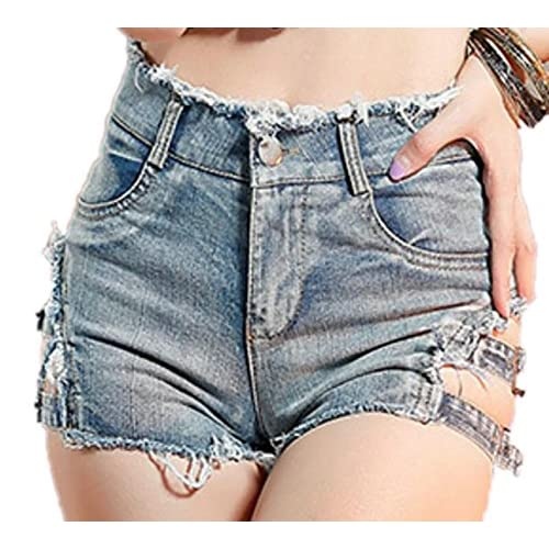 40afbf11d4 YYG-Women Fashion Fit Ripped Hole Jeans High Waist Clubwear Hot Pants Denim  Shorts 50