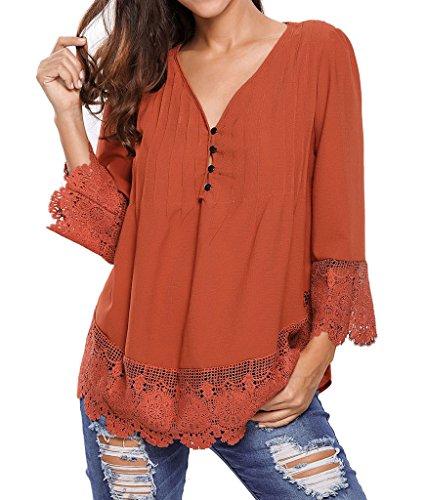 J&Design Women Button Up Crochet Lace Detail 3/4 Sleeve Blouse Top Brown S