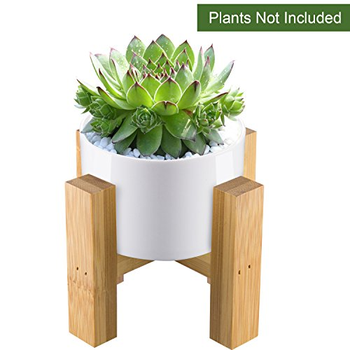 CUUCOR Mid Century Modern White Round Ceramic Small Succulent Planter Pot with Bamboo Stand, 3 Inch Indoor Plant Holder for Succulent Plant/Mini Cactus/Small Artificial Flowers(Planter + Stand)