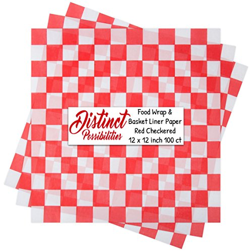 es Food Wrap and Basket Liner Paper, Red Checkered, 12 x 12 inch - 100 ct (Paper Food)