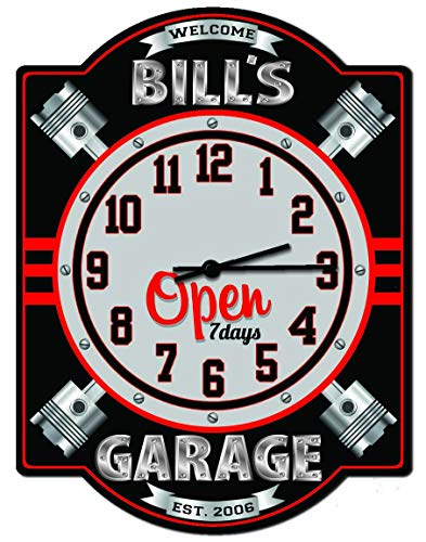 Personalized Garage Sign - Redeye Laserworks Garage Piston Personalized Hardboard Clock Sign from