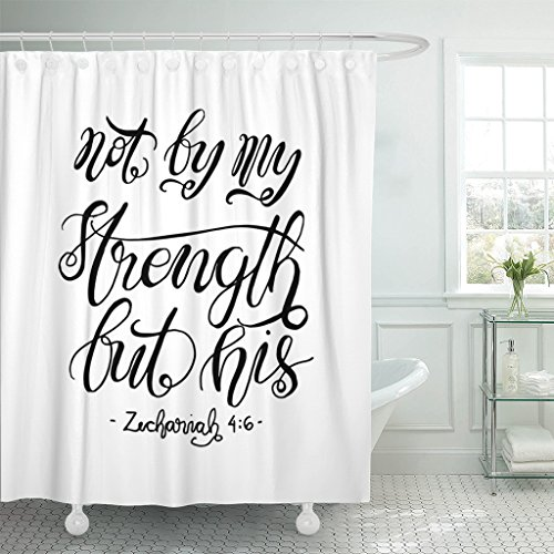 VaryHome Shower Curtain Believe Not By My Strength But His Bible Verse Hand Lettered Quote Modern Calligraphy Christian Christ Waterproof Polyester Fabric 72 x 72 inches Set with Hooks by VaryHome