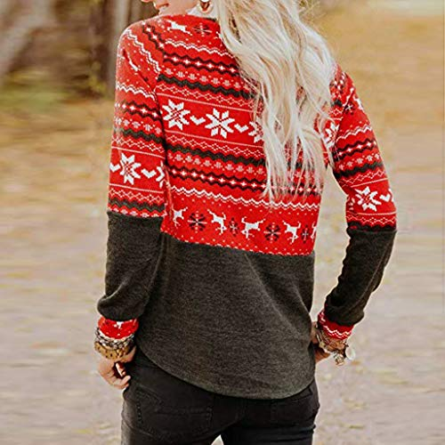 FEDULK Womens Fashion Tunics Christmas Reindeer Print Snowflake Patchwork Long Sleeve Blouse Pullover(Red, US Size M = Tag L)