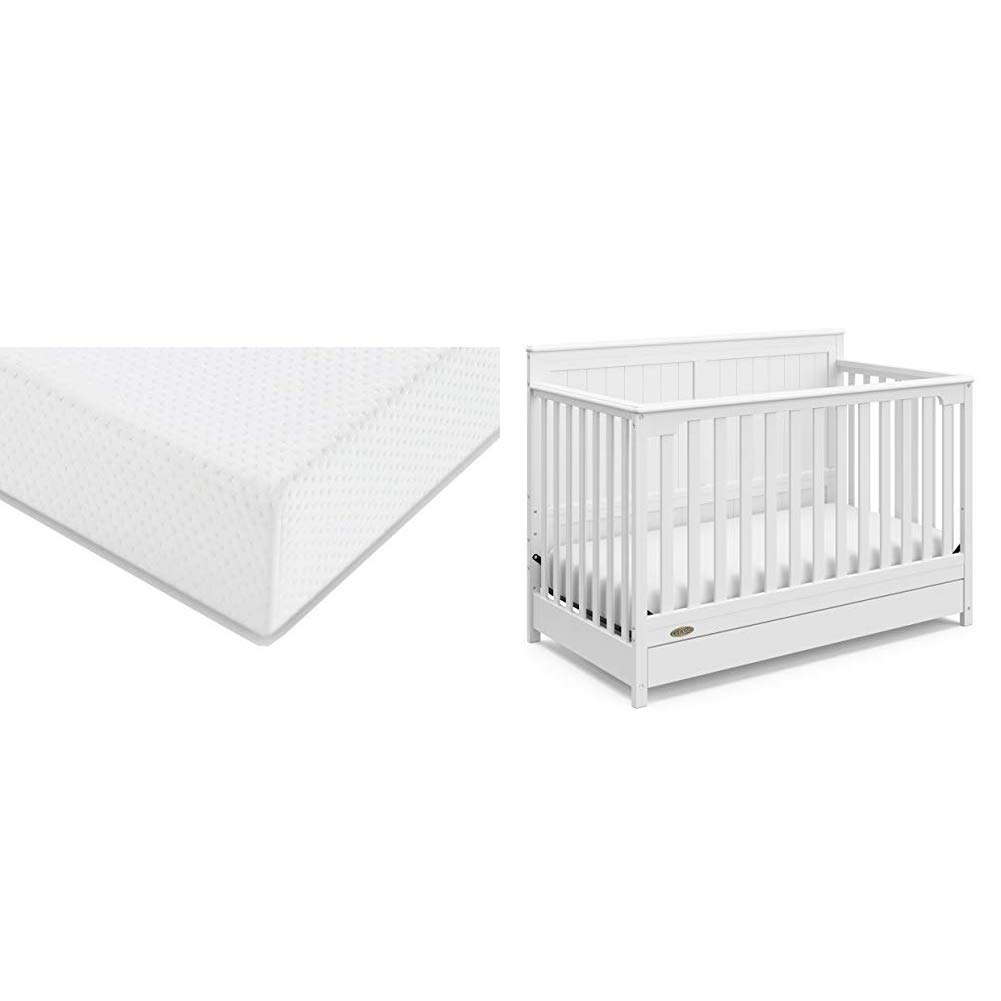 Graco Hadley Convertible Crib and Mattress Set, White | Includes 4-in-1 Convertible Crib with Drawer, Premium Foam Crib and Toddler Mattress