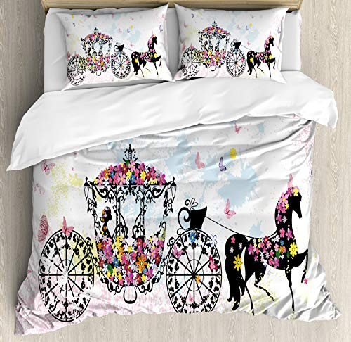 Ambesonne Kids Decor Duvet Cover Set Queen Size, Vintage Floral Carriage Black Horse Colorful Flowers Fairy Butterfly Girls Fun Party Print, Decorative 3 Piece Bedding Set with 2 Pillow Shams