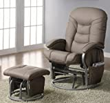 Coaster Deluxe Swivel Glider and Ottoman in Beige Leatherette