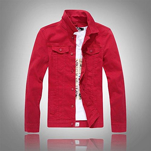 Versione Di Lavaggio Della Grigio Acqua A Coreana Uomini Lunghe m Marea Maniche Jacket Rosso Denim Camicia Jeans nxpR6