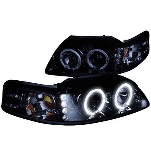 (Spec-D Tuning 2LHP-MST99G-TM Ford Mustang Glossy Black Halo Led Projector Headlights)