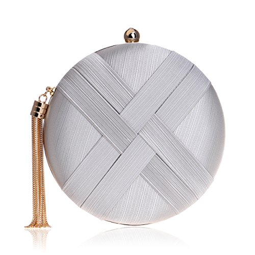 - MY Women's Round Satin Evening Clutch Bags Tassel Pendant Silk Purse Evening Handbags for Formal Party Bridal Wedding,Silver