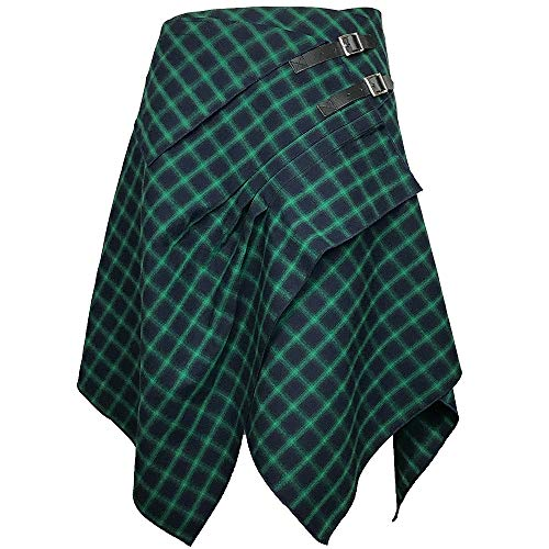 Tartan Skirt - 3 Pocket Skirt in 2 Traditional Scottish Tartan Colors (S, Sea Blue/Absinthe Green)