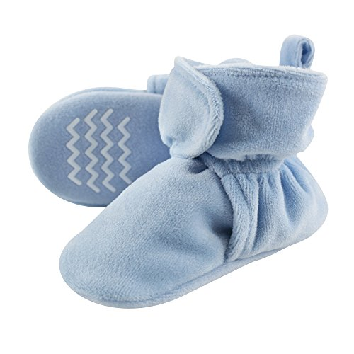 Hudson Baby Cozy Velour Booties with Non Skid Bottom,