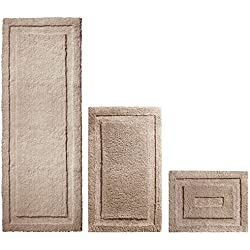 mDesign Soft Microfiber Polyester Spa Rugs for Bathroom Vanity, Tub/Shower - Water Absorbent, Machine Washable - Includes Plush Non-Slip Rectangular Accent Rug Mats in 3 Sizes - Set of 3, Linen/Tan