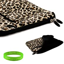 13 inch Exotic Leopard Print Faux fur Laptop Sleeve for the Sony Vaio T13 Ultrabook with a zipper pocket. Interior Fabric flap to keep your device in place and prevent fallouts + Vangoddy Live Laugh Love Bracelet
