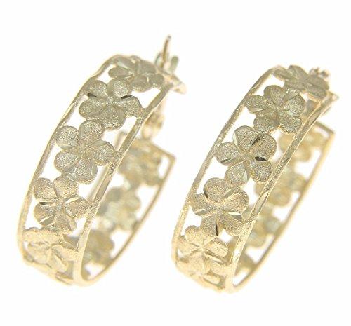 14K solid yellow gold Hawaiian plumeria flower hoop diamond cut border (Plumeria Flower Diamond Earrings)
