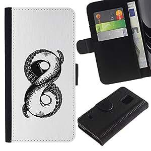 LASTONE PHONE CASE / Lujo Billetera de Cuero Caso del tirón Titular de la tarjeta Flip Carcasa Funda para Samsung Galaxy S5 V SM-G900 / white sketch octopus monster infinity