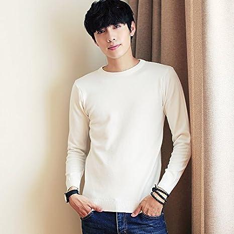 HY-Sweater Espalda Abierta Elegante Hombres Sudadera Sudadera Cuello Redondo de Color sólido versión Coreana de Moda Establece Cabeza Tejida de Camisa Blanca, Serie L: Amazon.es: Deportes y aire libre