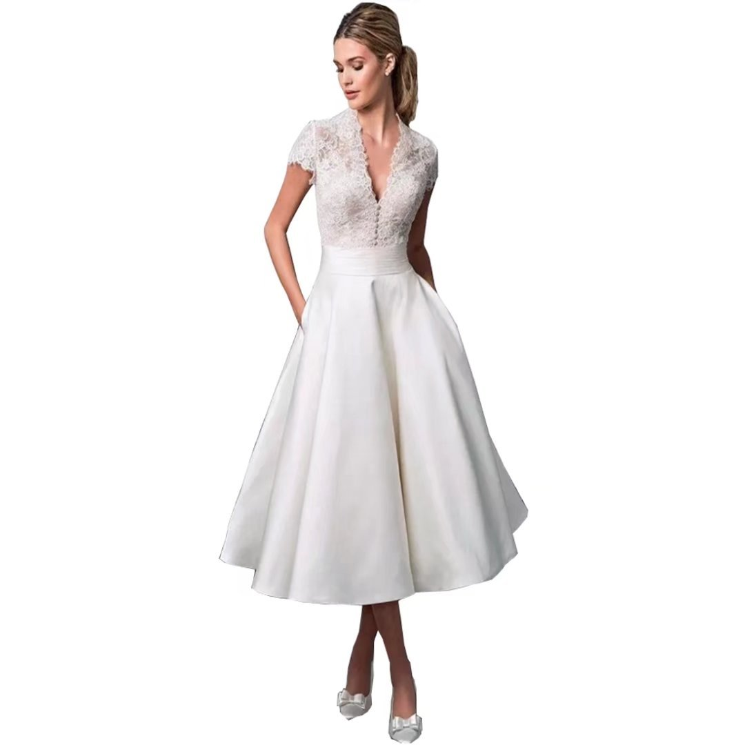 Chady Deep V Neck Short Sleeves Tea Length Beach Wedding Dress 2019 Illusion Lace Boho Bridal Gown With Pockets White