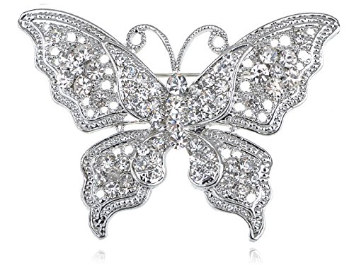 Alilang Silvery Tone Clear Crystal Rhinestone Filigree Butterfly Brooch Pin