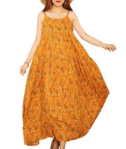 YESNO Women Casual Loose Bohemian Floral Print Empire Waist Spaghetti Strap Long Maxi Summer Beach Swing Dress XS-5X E75-CR28XXXL