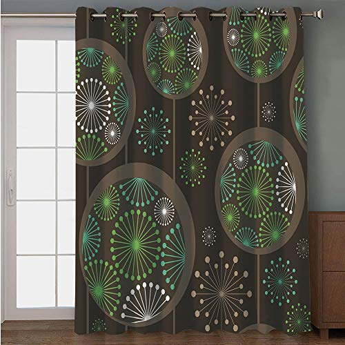 iPrint Blackout Patio Door Curtain,Sage,Stylized Abstract Dandelion Floral Garden Growth Inspired Retro Artistic Nature,Green Brown White,for Sliding & Patio Doors, 102