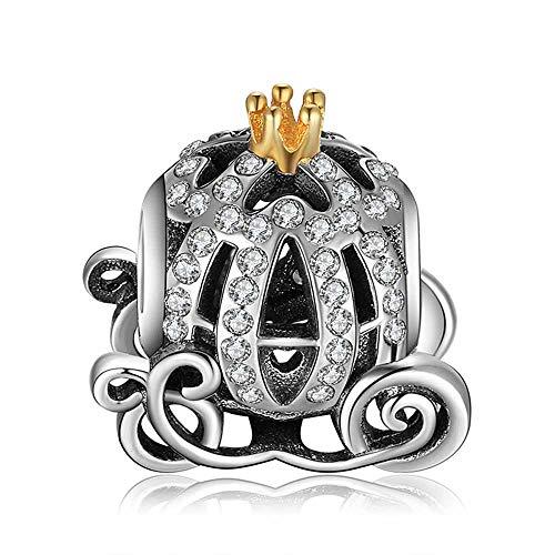 KFN Silver Cinderella Pumpkin Carriage Charm Beads for Bracelets