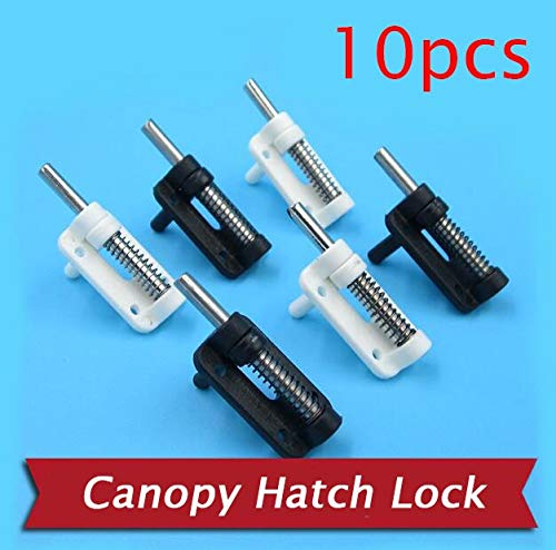 HATCHMATIC 10PCS Canopy Hatch Lock For RC Boat/Airplane Model 3mm Cockpit Latch With Spring Spare Part: black