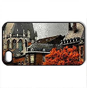 Basilica of St. Martin - Case Cover for iPhone 4 and 4s (Religious Series, Watercolor style, Black)