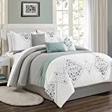KingLinen 7 Piece Even Gray/White/Blue Comforter Set Queen