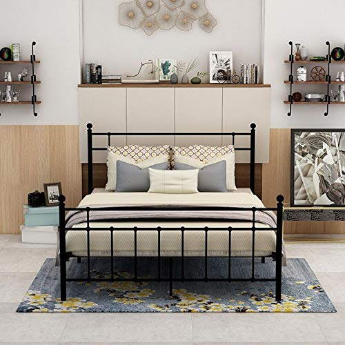 dumee metal platform bed frame full size with modern headboard and footboard 659514772998 ebay. Black Bedroom Furniture Sets. Home Design Ideas
