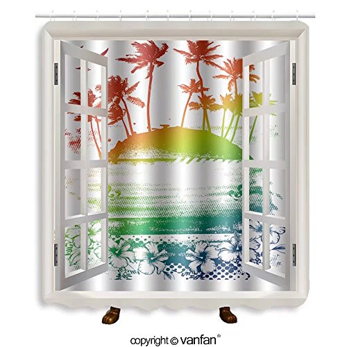 Vanfan designed Windows 145396531 beauty colorful summer scene Shower Curtains,Waterproof Mildew-Resistant Fabric Shower Curtain For Bathroom Decoration Decor With Shower - Premium Springs Outlets Palm