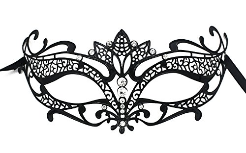 Jinfengkai Venetian Masquerade Masks (Women) – Match Ball Gowns, Halloween Costumes, Victorian Roleplay – Laser Cut with Metal Filigree – Great for Dances, Prom, Mardi (Victorian Halloween)