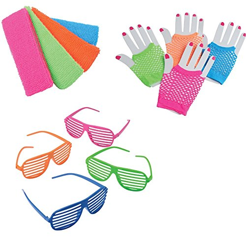 1980's Toy Party Favor Supplies Set for 12 Bundle 36 Pieces Neon Headbands Gloves Sunglasses (80's Theme)