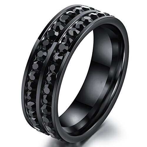 Mens Womens Wedding Bands Classic 6MM Stainless Steel Promise Rings for Him Double Rows CZ High Polish Comfort Fit Black Size (Double Row Engraved Band)