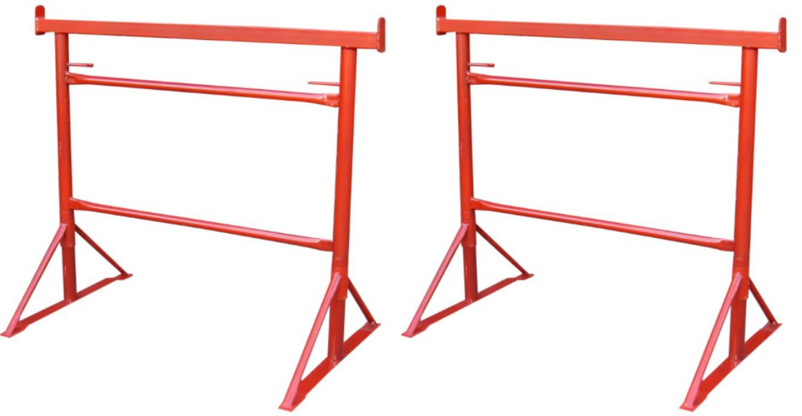 Industrial No 3 Builders Trestles (Pair) Extendable - 1.03m - 1.68m Painted Finish 450 Kilos SWL Toptower