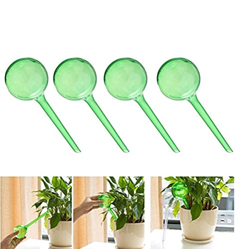 Imitation Glass Ball Type Drip Small Plant Flowers Self Watering Automatic Waterer Device (4Pcs-Green)