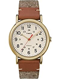 Timex Unisex Casual Weekender 38mm TW2R42100GP Cream Dial and Tan Fabric Band Watch