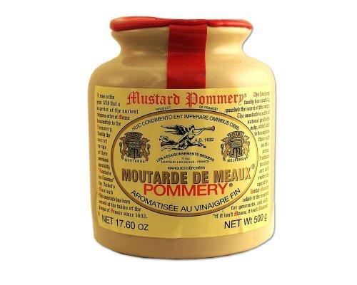 Classic 500 gram Pommery Mustard Meaux Moutarde in Pottery Crock, Six by Pommery